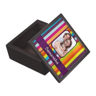 Raya multicolora del caramelo caja de joyas de calidad