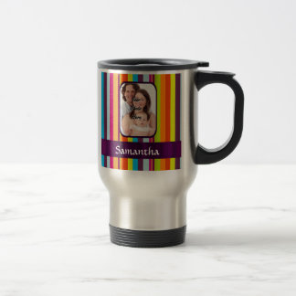 Raya multicolora del caramelo taza de café