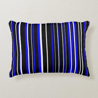 Raya negra, azul, y blanca adaptable cojín decorativo
