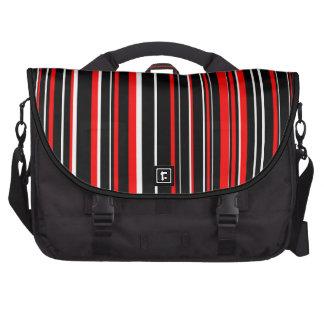 Raya negra, blanca, roja del código de barras bolsas para portatil