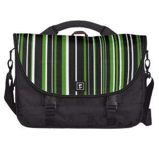 Raya negra, blanca, verde del código de barras bolsa de ordenador