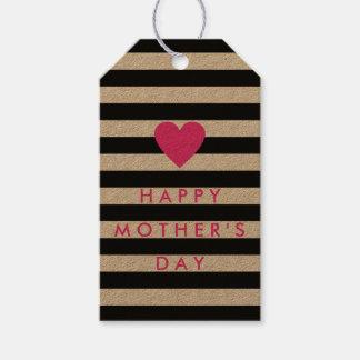 Raya negra con Day de la madre feliz rosada del Etiquetas Para Regalos