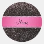 Raya negra conocida personalizada del rosa del etiqueta redonda
