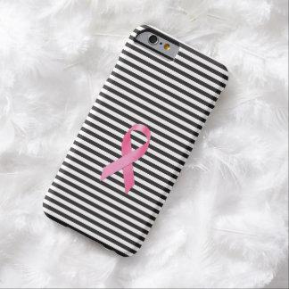 Raya negra de la cinta de la conciencia del cáncer funda para iPhone 6 barely there
