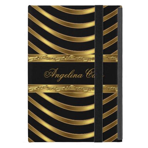 Raya negra elegante del oro de moda iPad mini cárcasas