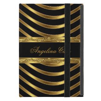 Raya negra elegante del oro de moda iPad mini carcasa