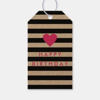 Raya negra moderna con cumpleaños rosado del etiquetas para regalos