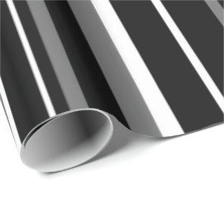 Raya negra moderna del código de barras del blanco papel de regalo