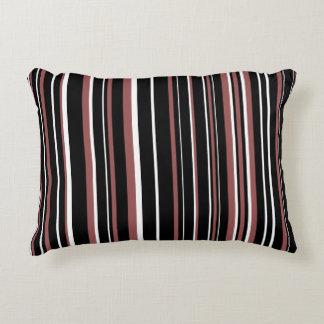 Raya negra, rojo marrón, blanca del código de cojín decorativo