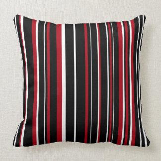 Raya negra, rojo oscuro, blanca del código de cojin