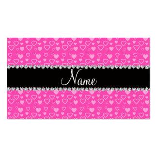 Raya negra rosada conocida de encargo de los coraz tarjetas de visita