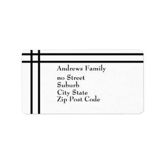 Raya negra simple negra y blanca de la etiqueta etiqueta de dirección