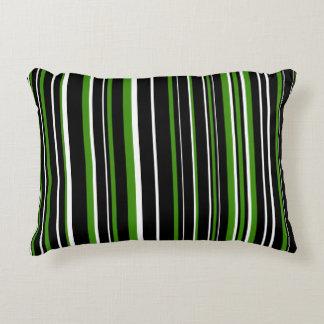 Raya negra, verde, y blanca adaptable cojín decorativo