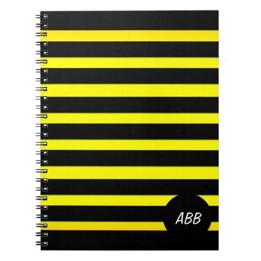 Raya negra y amarilla - personalizado Ntbook del d Libreta Espiral