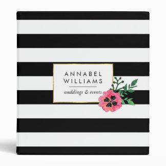 Raya negra y carpeta personalizada floral del rosa