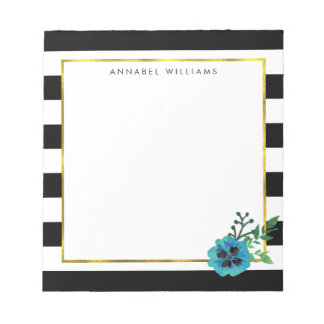 Raya negra y libreta personalizada flor azul blocs de papel
