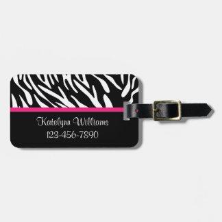 Raya personalizada de la cebra con la etiqueta etiquetas de equipaje