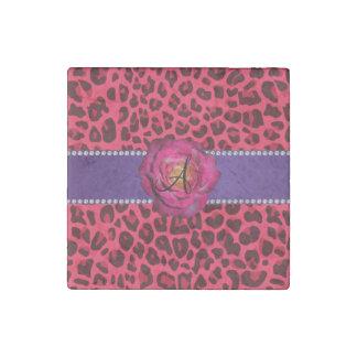 Raya púrpura subió rosa rosado del leopardo del imán de piedra