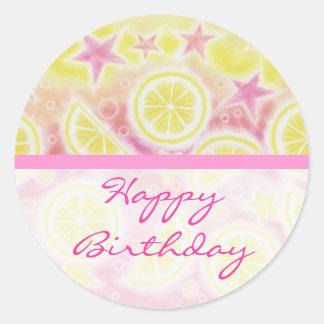 Raya redonda de la limonada del pegatina rosado