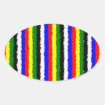 Raya rizada de los colores básicos calcomania de óval personalizadas