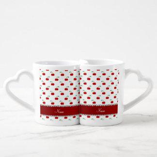 Raya roja blanca conocida personalizada del rojo tazas para parejas