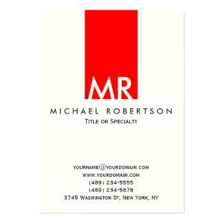 Raya roja blanca del monograma indestructible tarjetas de visita grandes