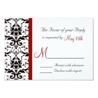 Raya roja blanca RSVP del negro del damasco del Invitaciones Personales
