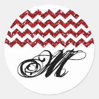 raya roja de Chevron del brillo del sello de 20 - Pegatina Redonda