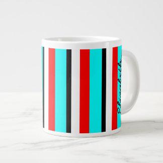 Raya roja del blanco del negro del trullo taza de café grande