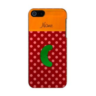 Raya roja del naranja de los lunares de la funda para iPhone 5 incipio feather shine