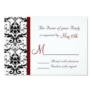 Raya roja marrón blanca negra RSVP del damasco Invitacion Personalizada