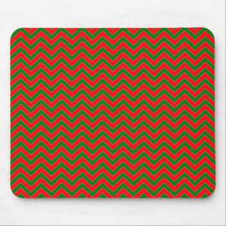 Raya roja y verde del zigzag de Chevron del Alfombrilla De Raton