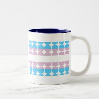 Raya rosada azul taza de café de dos colores