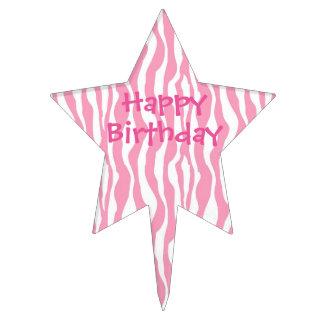 Raya rosada de la cebra del cumpleaños decoración para tarta