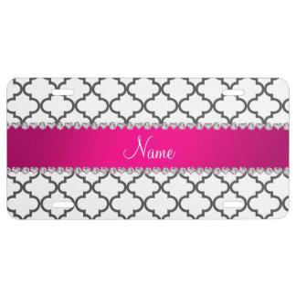 Raya rosada marroquí blanca conocida personalizada placa de matrícula