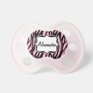 Raya rosada/negra conocida personalizada de la ceb chupetes para bebes