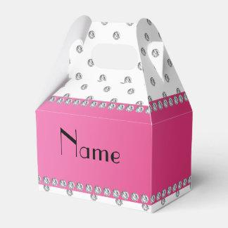 Raya rosada personalizada de los diamantes blancos cajas para regalos