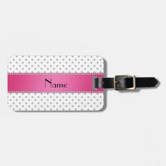Raya rosada personalizada de los diamantes blancos etiqueta de equipaje