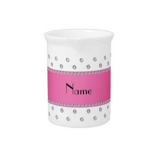 Raya rosada personalizada de los diamantes blancos jarras de beber