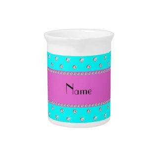 Raya rosada personalizada de los diamantes conocid jarra