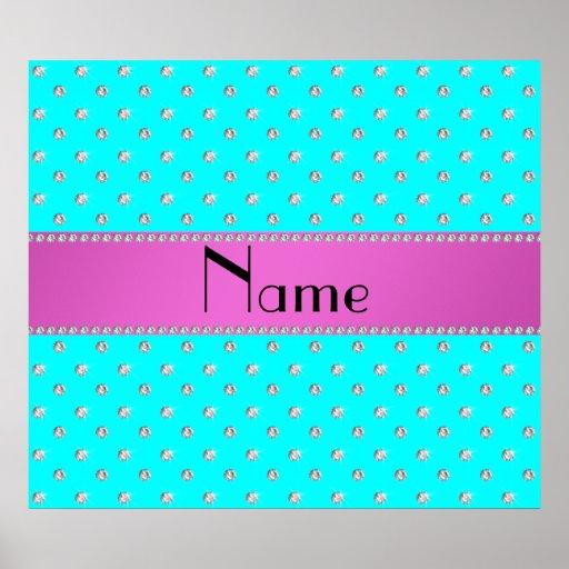 Raya rosada personalizada de los diamantes conocid posters