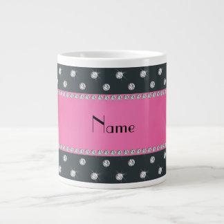 Raya rosada personalizada de los diamantes gris os tazas jumbo