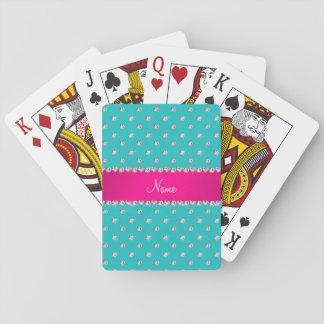 Raya rosada personalizada de los diamantes cartas de póquer