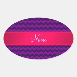 Raya rosada personalizada de los galones púrpuras colcomanias óval