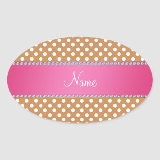 Raya rosada personalizada de los lunares marrones pegatina ovalada