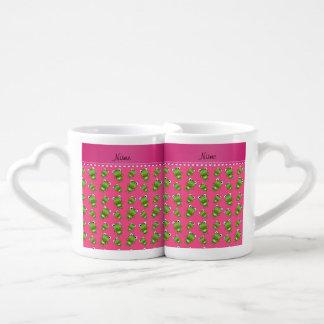 Raya rosada rosada personalizada del corazón de tazas para parejas