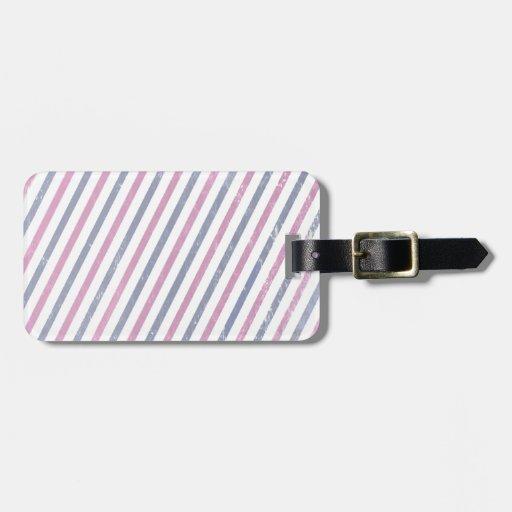 Raya rosada y púrpura del vintage etiqueta para maleta
