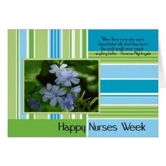 Raya verde de las enfermeras felices/azul tarjeta de felicitación