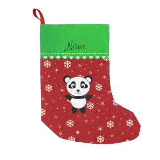 Raya verde de los copos de nieve rojos conocidos calcetín de navidad pequeño