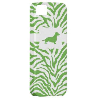 Raya verde w/Dachshund de la cebra iPhone 5 Case-Mate Carcasas